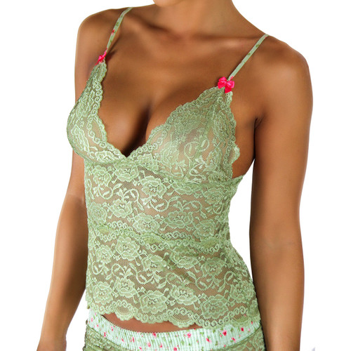 Waist Length Lace Camisole | Sage Green/Roses Forever (FXLAC2-68154)