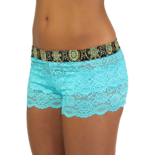 Women's Turquoise Lace Boxers | Medallion Print Band