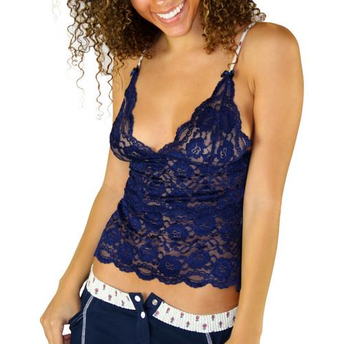 Navy Blue Lace Camisole | Waist Length