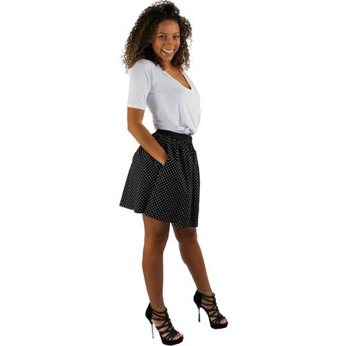 Black & White Dot Mini Skirt With Pockets