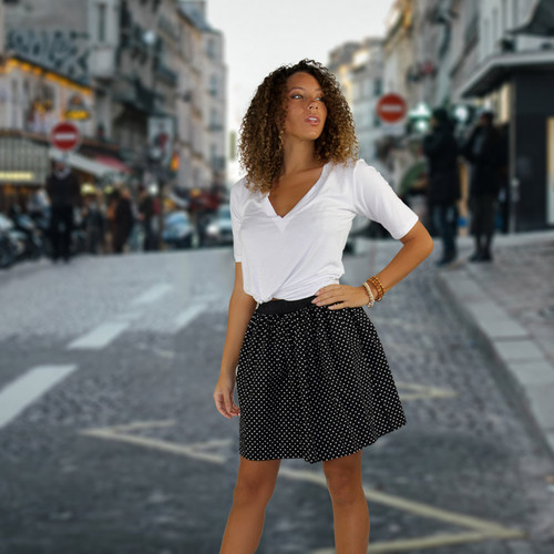 Jordan wearing a FOXERS skirt on the streets of Paris