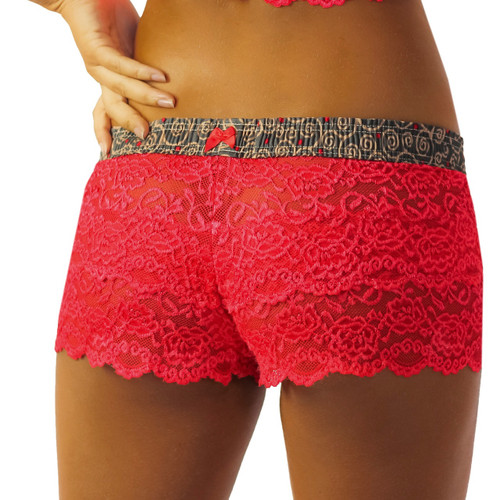 red lace boxers for women