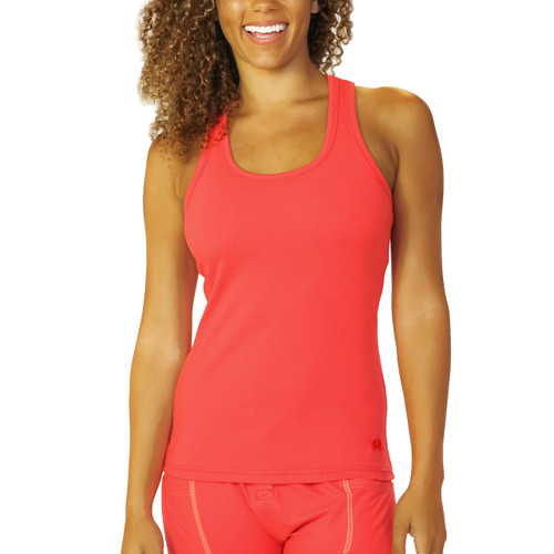bright red racerback with shelf bra