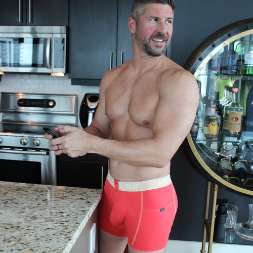 Men's boxer brief with pockets in red - cell phone pocket