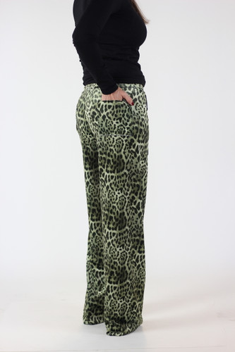 Velvet lounge pants with leopard print