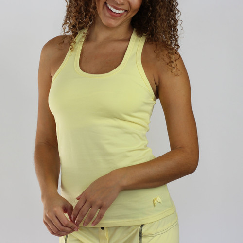 Butter yellow racerback with built in shelf bra