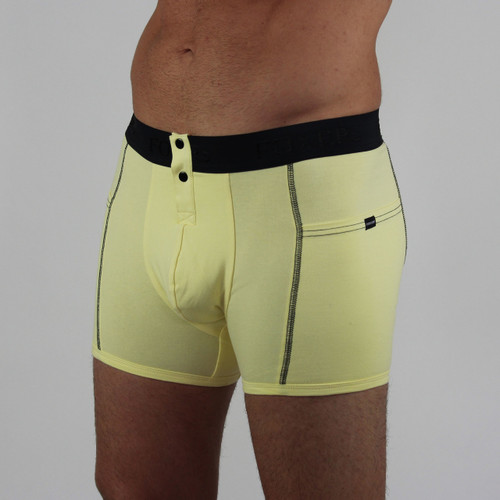 Yellow Men's Boxer Brief with Black FOXERS logo