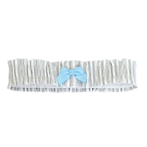 Garter Belt made from Light Grey and white striped fabric.