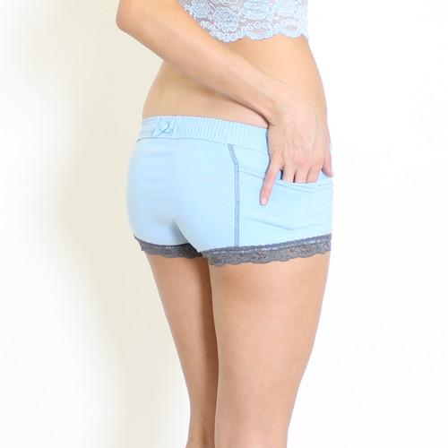 Sky Blue Women's Boxer Panties