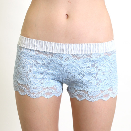 Light Blue Lace Boxers Lt Gray white stripe band 3275