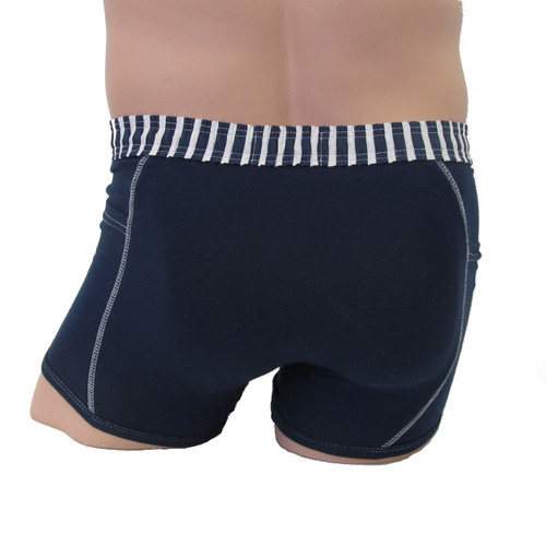 Men's Navy Boxer Brief with Striped Waistband