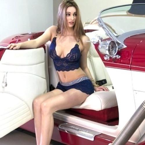 Navy Stripe Navy Lace Bralette Cami