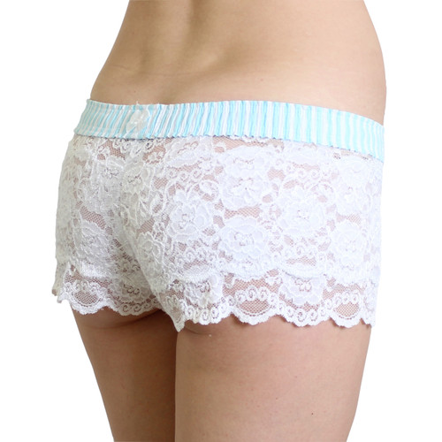 Mint Blue and White Stripe White Lace FOXERS Boxers
