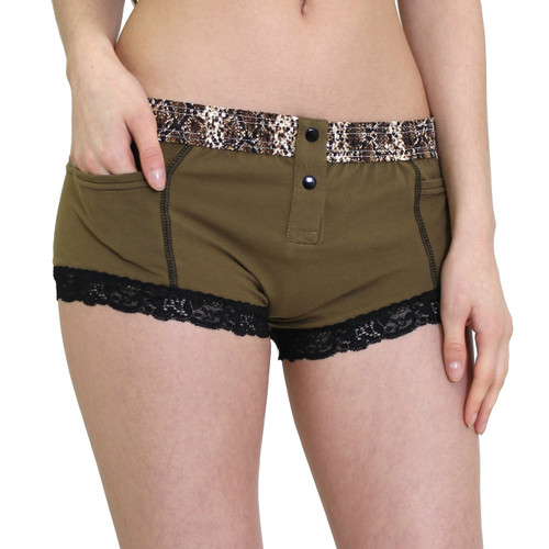 Army Green Boyshorts with Snake Print Waistband