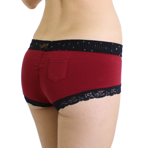 Cranberry Boyshort with Midnight Rose Waistband