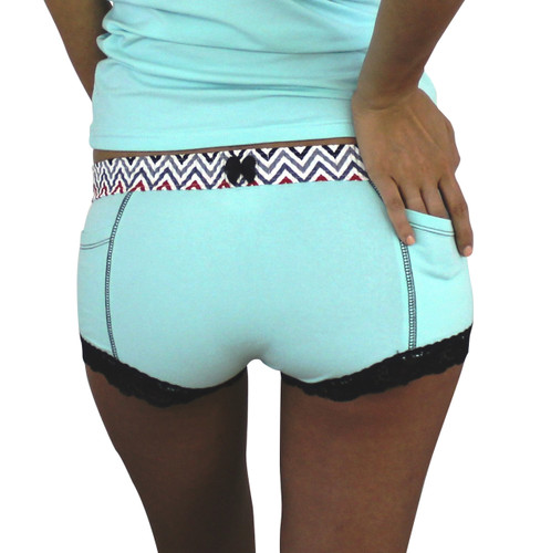 Aqua Boxer Brief with Chevron Waistband