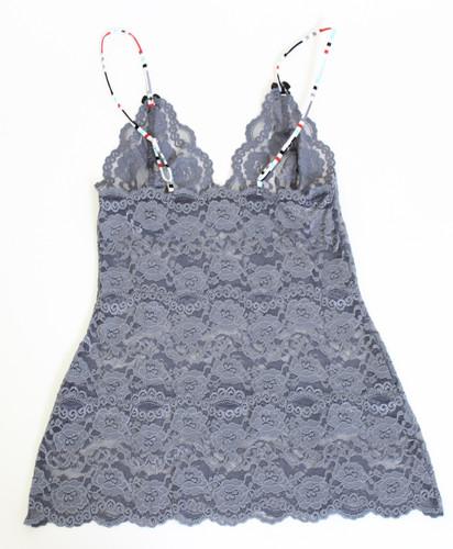 Charcoal Gray Lace Hip Length Camisole (Aqua Chevron Straps)