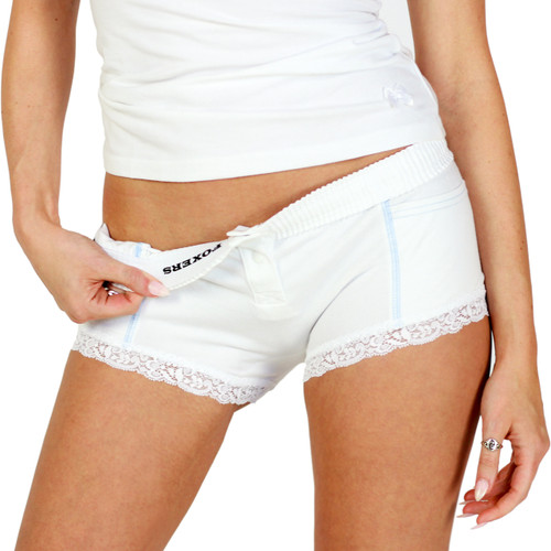 White Boxer Brief with Light Blue Accents
