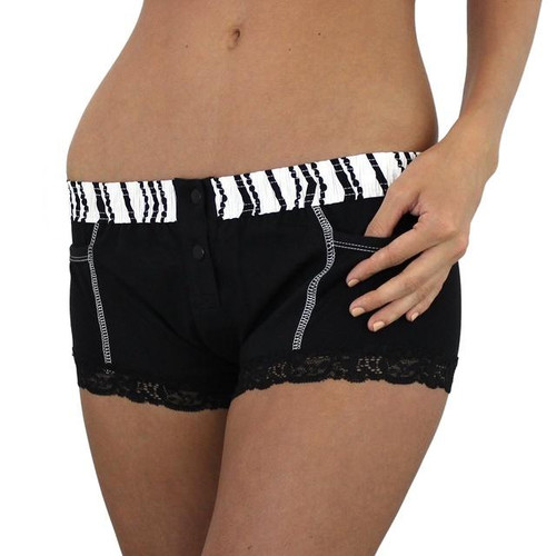 Black Boxer Brief with white FOXERS band Black Pearls