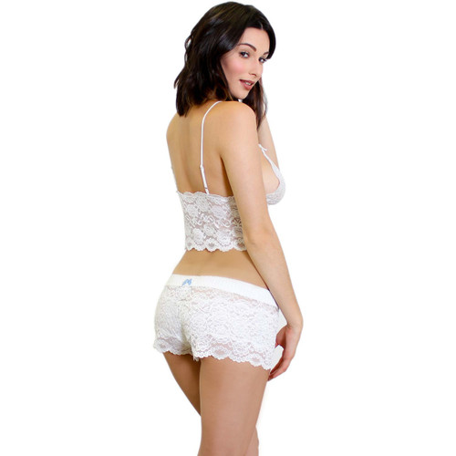 Matching White Lace Camisole and Lace Boxers