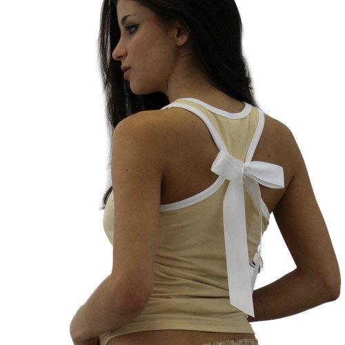 Mocha Racerback Tank shelf bra. We added a double sided satin bow for a feminine touch.