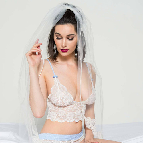 White Lace Bralette Camisole and matching White Lace Boxers make a beautiful Wedding Lingerie Set