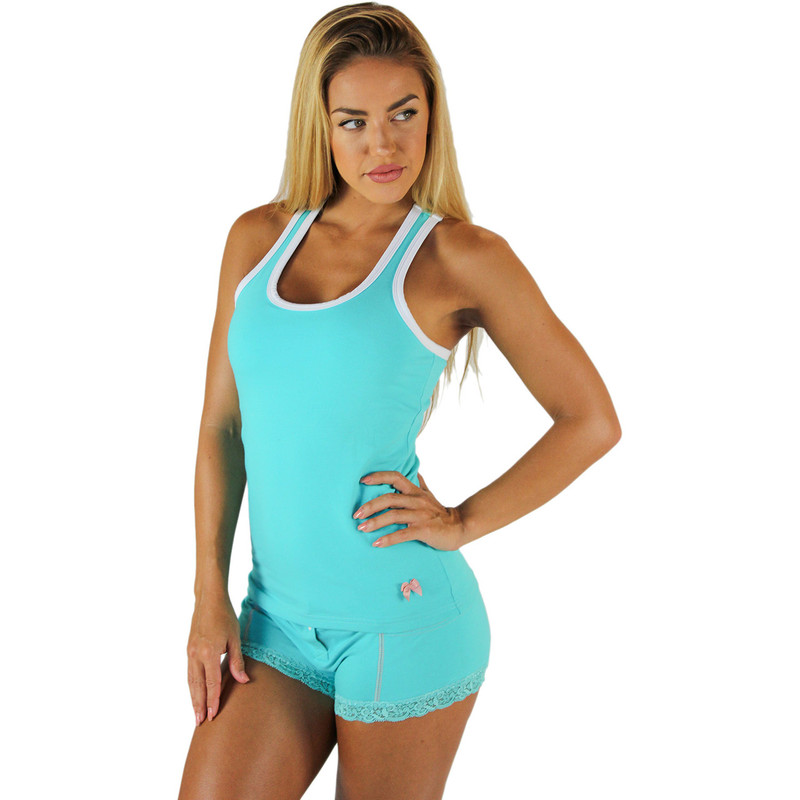 Turquoise Ocean Racerback Tank Top With White Trim