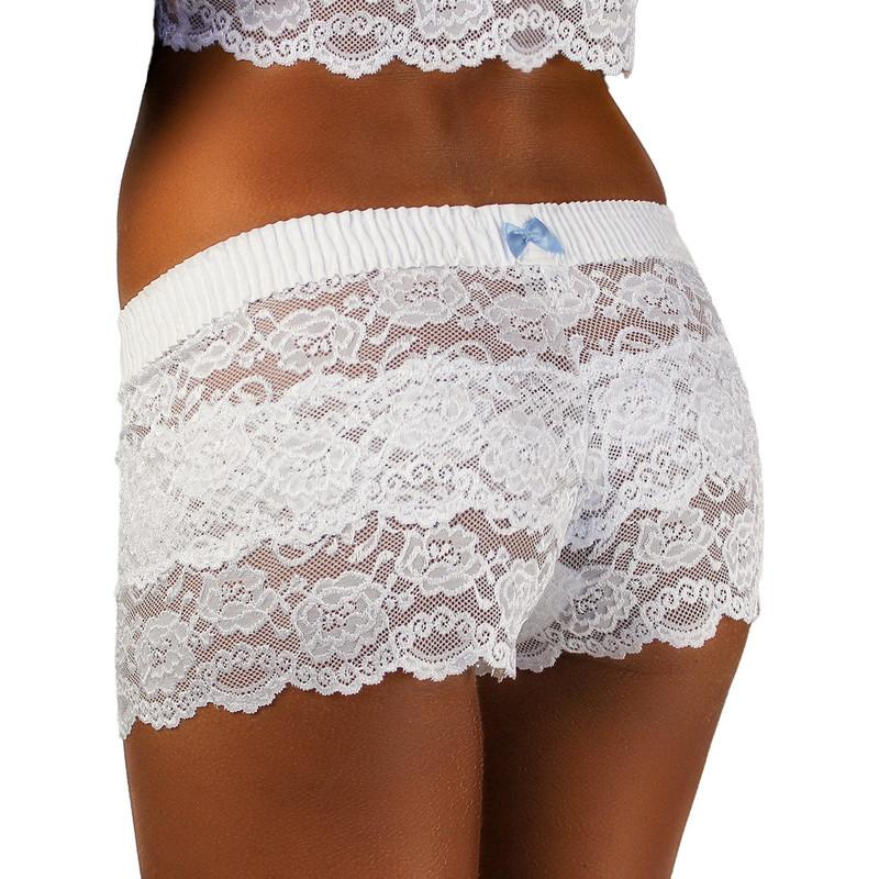 white lace boy shorts