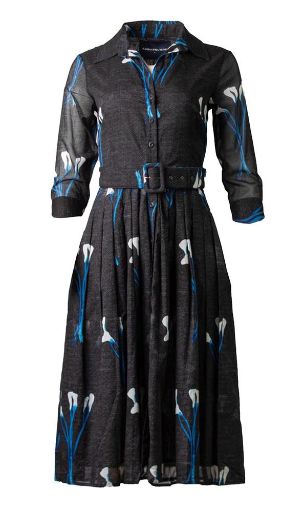 SAMANTHA SUNG 'AUDREY 2' LONG HOCKNEY LILIES DRESS