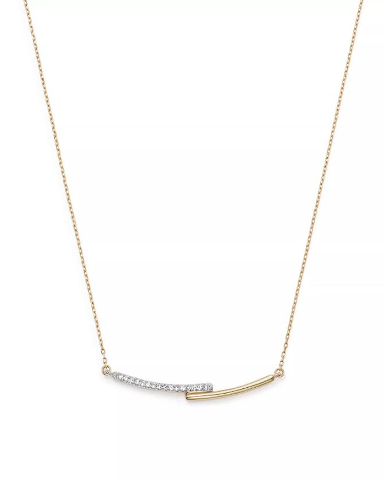 ADINA REYTER CURVED PAVE BAR NECKLACE 14K YELLOW GOLD