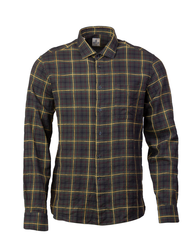 GIANGI NAPOLI TWILL WINDOW PANE BUTTON FRONT SHIRT