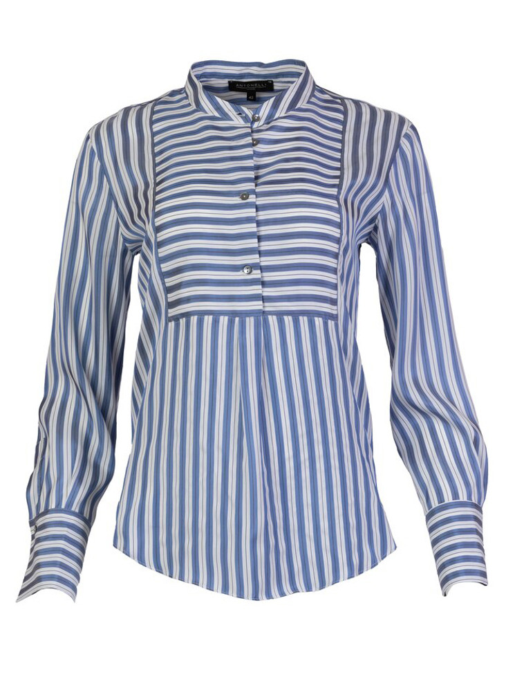 ANTONELLI CIGOLI STRIPED SILK BOUSE