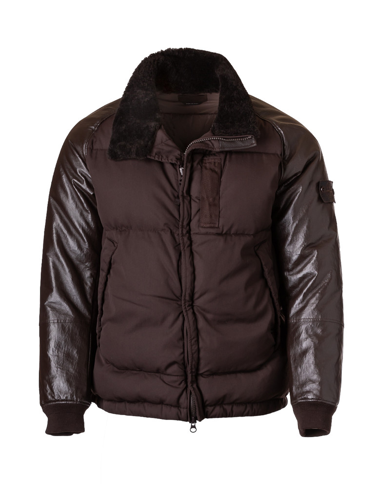 STONE ISLAND GHOST LEATHER DOWN JACKET