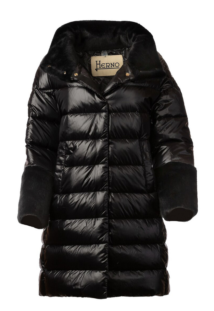 HERNO WOMEN'S DOWN JACKET WITH FAUX TRIM