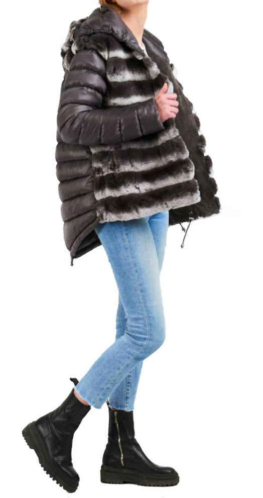 NATURAL FURS KRIO HOODIE REX AND PUFFER JACKET