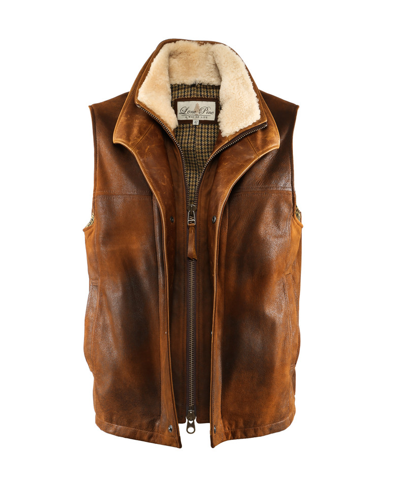 LONE PINE LEATHER VEST WITH SHEARLING COLLAR