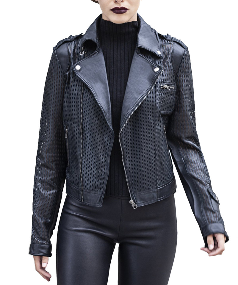 JAKETT JOSEY PERFORATED WASHED LEATHER CROP JACKET