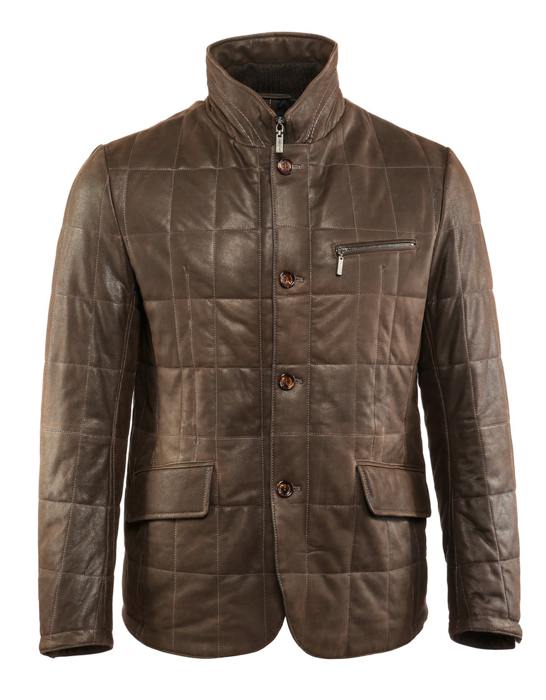 GIMO'S MEN'S BOX QUILTED VINTAGE LEATHER COAT