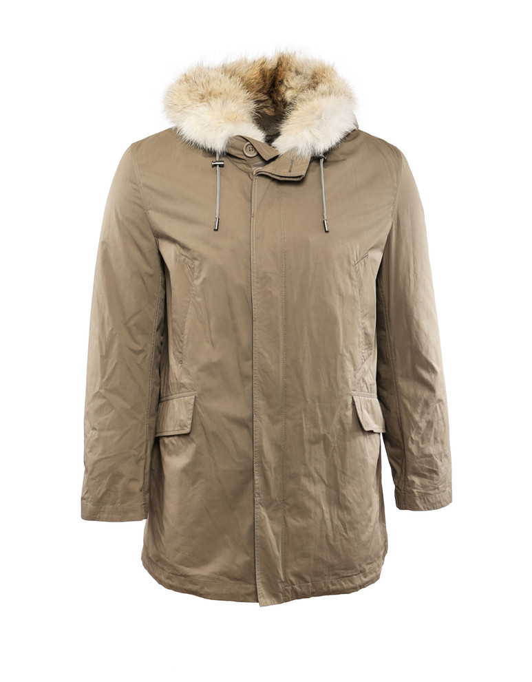 YVES-SALOMON MEN'S ARMY TWILL HOODED PARKA W/ REMOVABLE FUR LINING AND COYOTE TRIM