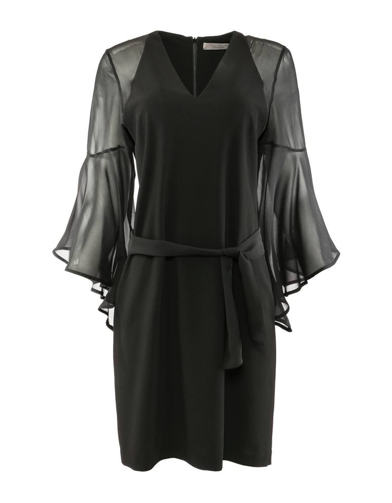 D.EXTERIOR V-NECK STRETCH DRESS WITH SILK SLEEVES