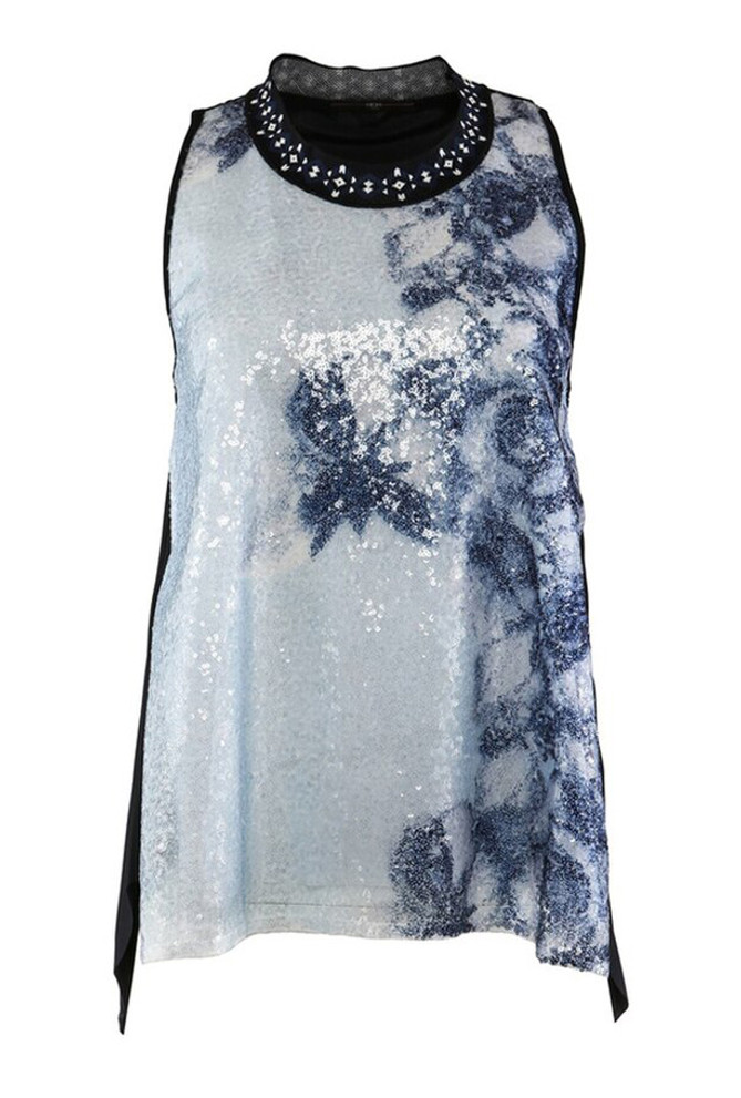 HIGH MIME FLORAL PRINT JERSEY TANK WITH SEQUINS