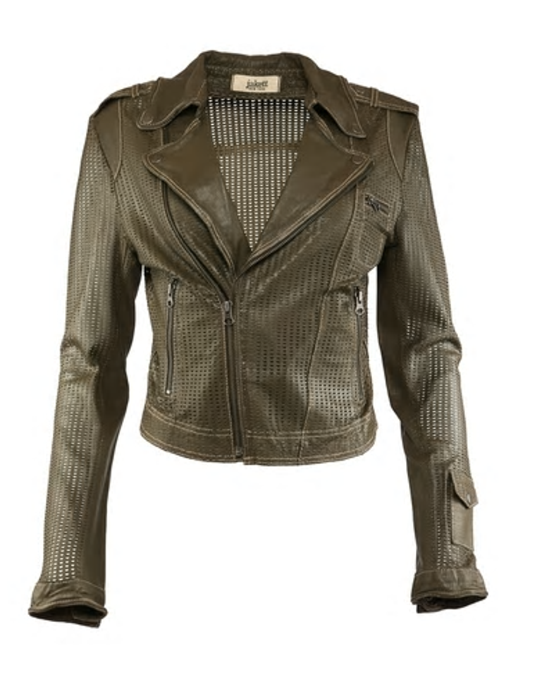 JAKETT PERFORATED JOSEY WASHED LEATHER CROP JACKET