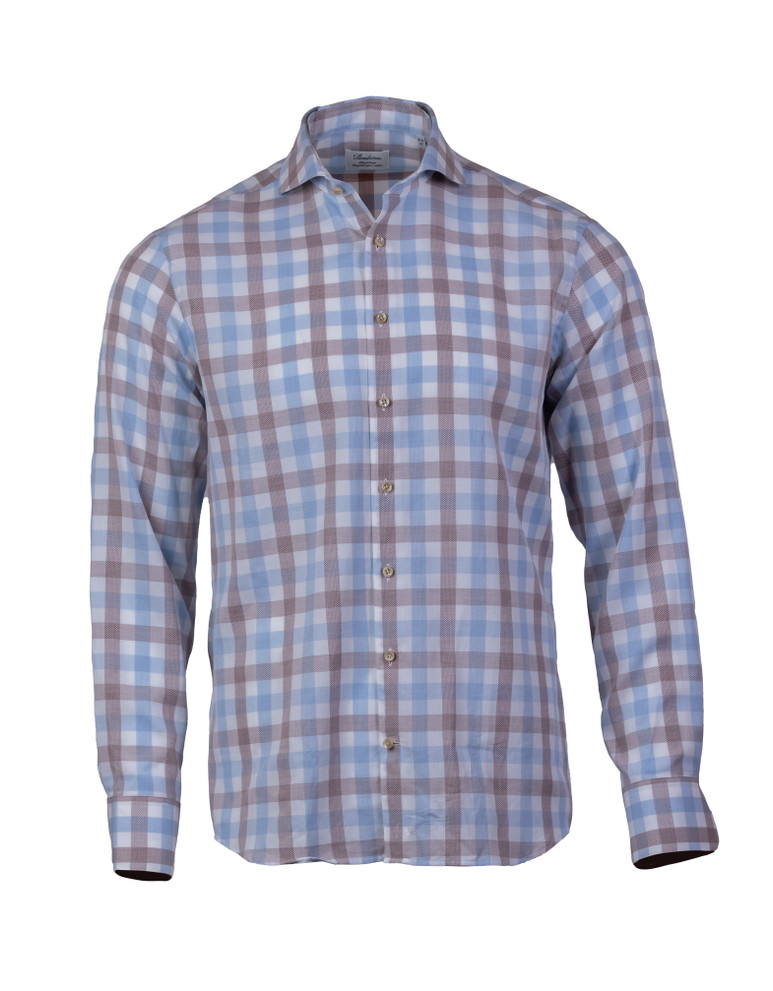 STENSTROMS BLUE/BROWN CHECKED FITTED BODY SHIRT