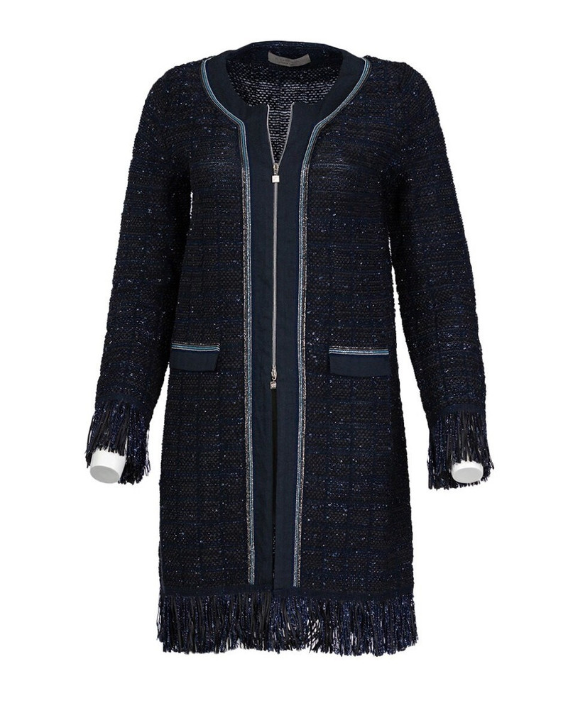 D. EXTERIOR LONG CARDIGAN WITH FRINGE