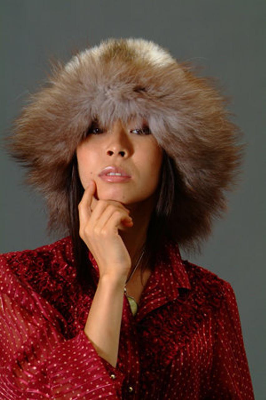 79357f1ac0d Faux Fur Hat w  Real Brown Fox Fur Trim - furoutlet - fur coat