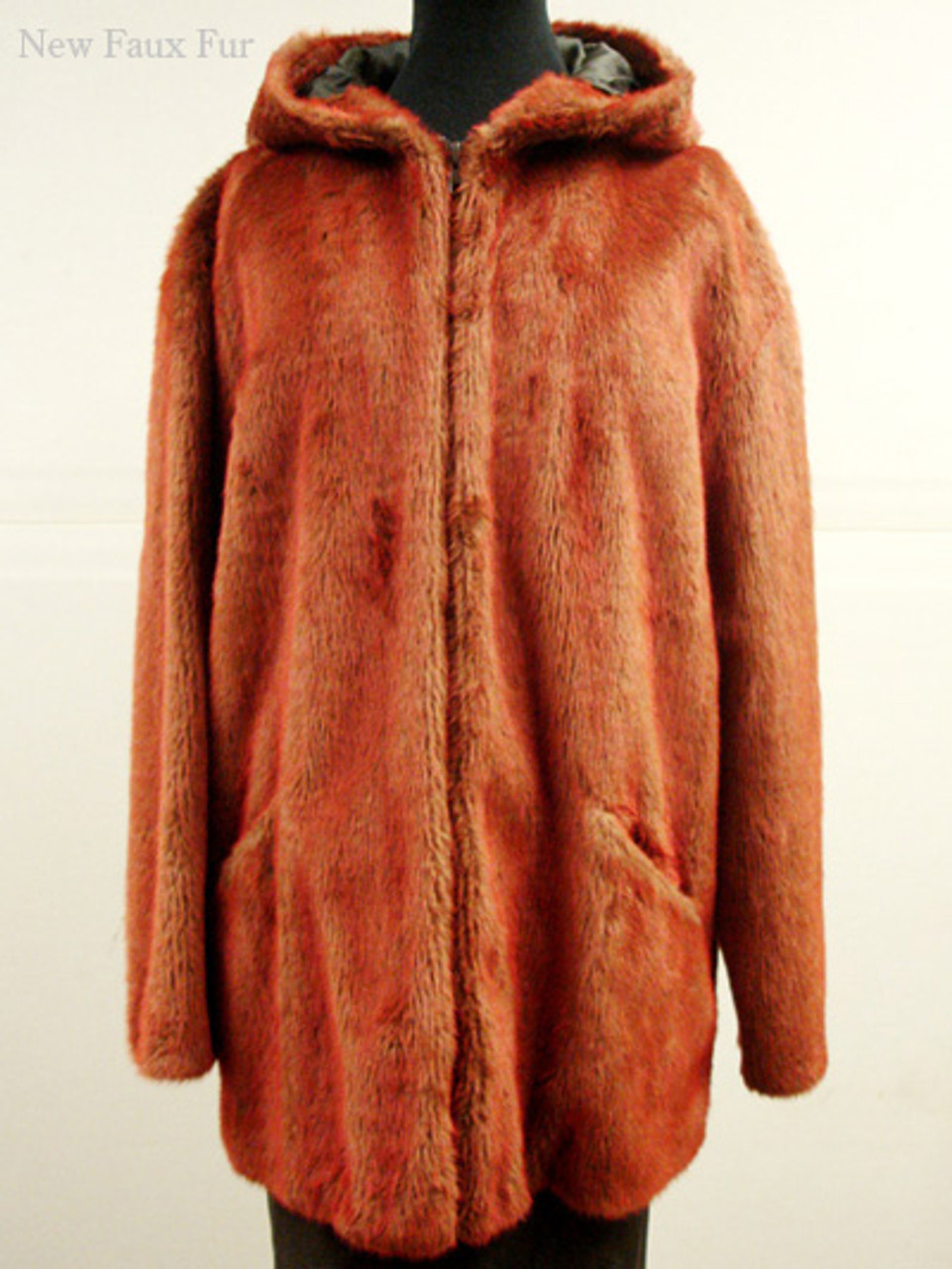 a6a83ddd0a04 Faux Fur Red Mink Jacket With Hood - furoutlet - fur coat, fur ...