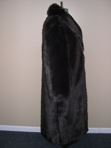 Brown Faux Beaver Long Coat