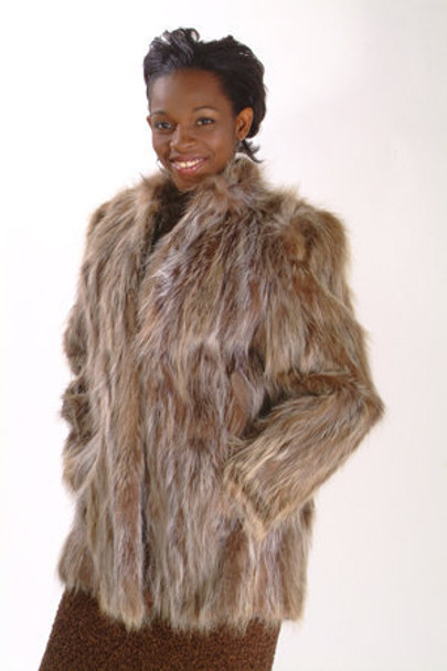 Sectional Raccoon Fur Jacket