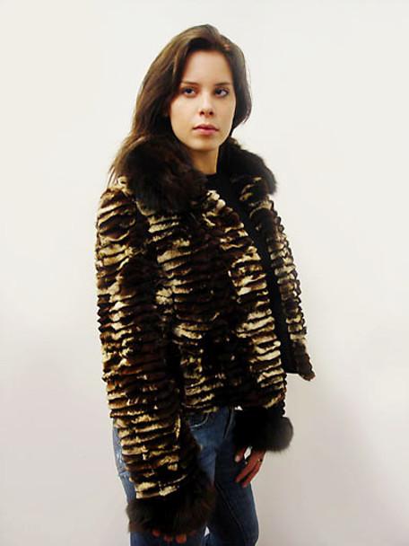 Brown Sheared Fur Design Jacket