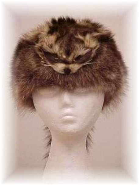 "Natural Raccoon ""Daniel Boone"" Fur Hat with Face"